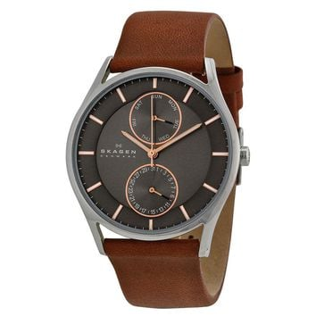 Skagen Holst Charcoal Dial Brown Leather Strap Mens Watch SKW6086
