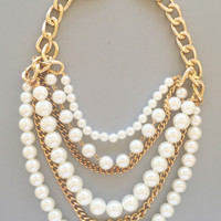 Pearls & Golden Chains Statement Necklace