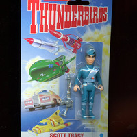 "Matchbox Thunderbirds Scott Tracy Vintage 3.5"" Action Figure W/ Thunder Stun Accessory New Unopened Collectible Free Shipping"