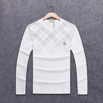 Burberry autumn and winter new long-sleeved round neck striped plaid men's long-sleeved round neck sweater White