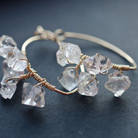 Herkimer Diamond Hoop Earrings  / Hoop Earrings / 14K Gold Filled Natural Crystals / Bohemian Boho