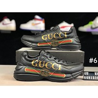 GUCCI Tide brand casual sports men and women models thick bottom increased retro old shoes #6