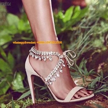 Great quality girls bling bling crystal sandals tie up single strap dress shoes ankle rhinestone stiletto heel wedding sandals