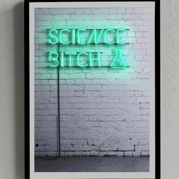 Breaking Bad, Science Bitch, Jesse Pinkman, Poster, Neon Sign, Lights, Room, Decor, Print, Gift, TV, Wall, green