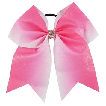 "6PCS/lot 7""Pink Glitter Ribbon Cheer Bow WIth Elastic Band Bows Ponytail Hair Holder For Teens Girls Hair Accessories"