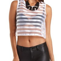Striped Organza Crop Top by Charlotte Russe - White