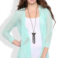 Sweater Cozy with Waterfall Front and Three Quarter Sleeves