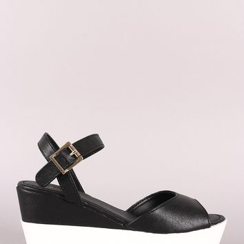 Bamboo Vegan Leather Flatform Wedge