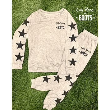 City Roots in Boots Star Women's Lounge Top & Pants (Sold Separately)