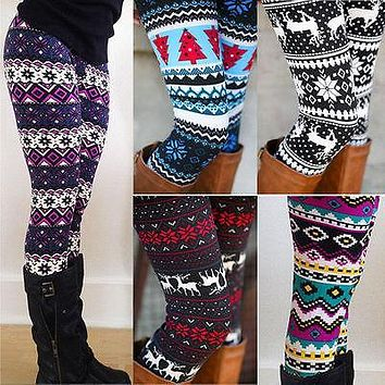 Ladies Winter Warm Christmas Snowflakes Leggings Cotton Knit
