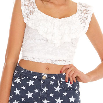 Brigitte Lace Crop Top - Ivory