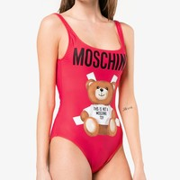 MOSCHINO hot selling alphabet print halter swimsuit fashion sexy women's bikini Red