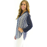 River Blues Aztec Tunic Blouse