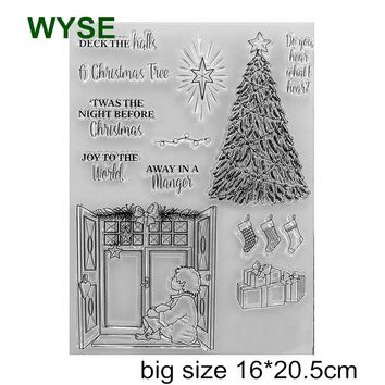 Clear stamp christmas tree stamps transparent rubber deer stamp for scrapbooking paper card making Wedding Party invitations DIY