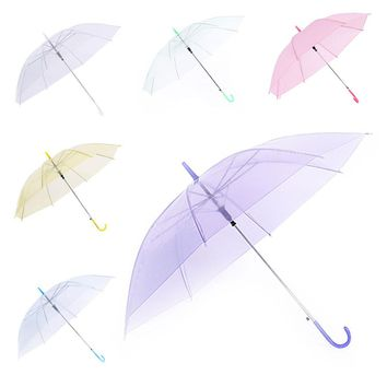 Men Women Rain Sun Umbrellas Transparent Clear Umbrella Long Handle Straight Stick  @LS