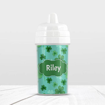 Lucky Clover Personalized Sippy Cup - Green Clover Pattern over Teal Background - 10oz BPA Free - Made to Order