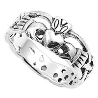 Sterling Silver Claddagh Ring 8mm ( Size 4 to 12)
