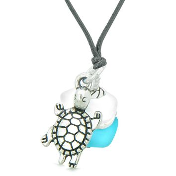 Sea Glass Icy Frosted Waves Lucky Turtle Sky Blue White Positive Energy Amulet Adjustable Necklace