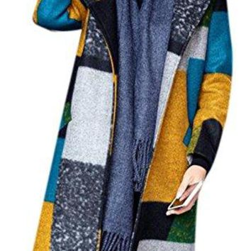 Women's Winter Plaid Lapel Long Warm Wool-Blended Parka Outwear Long Coat