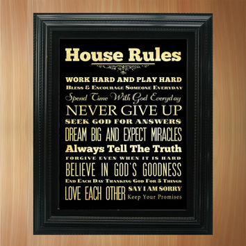 Family Rules / House Rules / Subway Roll / Typography Art Poster 8X10 - Wall Art Decoration -  LHA-294