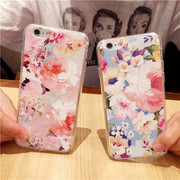 Painted flowers mobile phone case for iphone 6 6s 6plus 6s plus + Nice gift box!