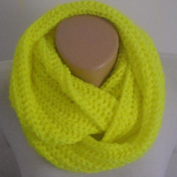 Scarf/Neon yellow knitted  scarf , neck warmer , neon scarf , knit scarf , infinity scarf , knitted infinity scarf
