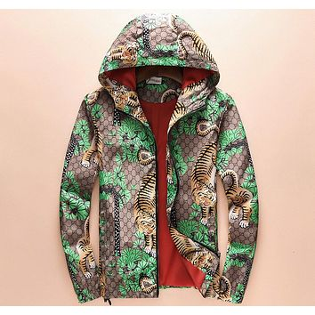 GUCCI trend hooded personality tiger high-end fashion printed casual jacket F-A00FS-GJ khaki