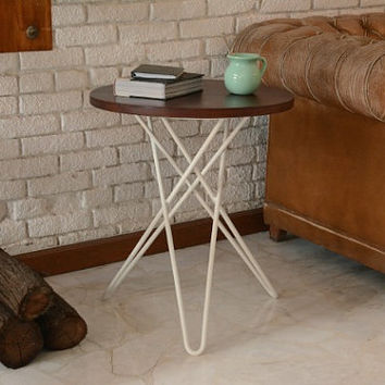 Modern Hairpin Side Table handmade from Tzalam Wood and White Steel