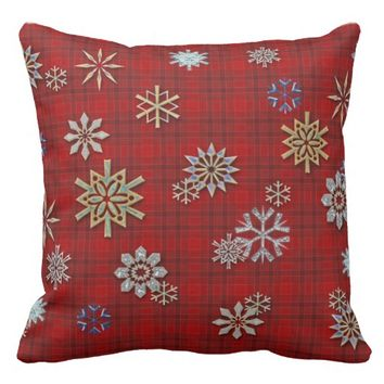 Art Deco Snowflakes Red Plaid Tartan Throw Pillow