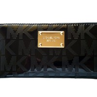 MICHAEL Michael Kors Mirror Metallic Signature Zip Around Continental Wallet (Black)
