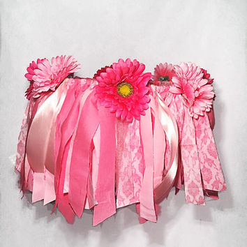 Baby Girl Mobile, Light and Medium Pink, Flowers, Nursery, Bedroom, Princess Decor, Crib, Chandelier, Strips of Fabric, Damask and Solids