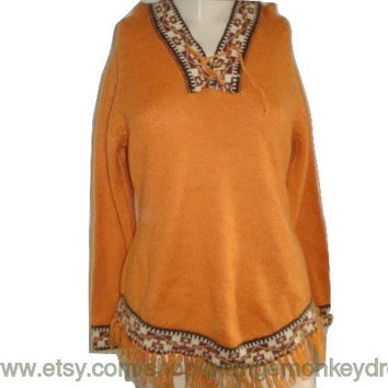 vintage Orange brown ALPACA FRINGE HOODIE sweater shirt southwestern hipster indie boho small xs
