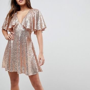 ASOS Sequin Fluted Sleeve Lace Mini Dress at asos.com