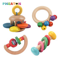 1PC Wooden Baby Toy Handbell Musical Rattles Early Education Baby Toys Instrument Rattle Shaker Party Children Gift