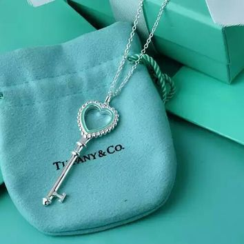 Tiffany & Co. Enamel heart-shaped key necklace
