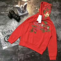 GUCCI  Hot long flower rose print sweater red hoodie  pullover  sweatershirt I-JJ-LHYCWM