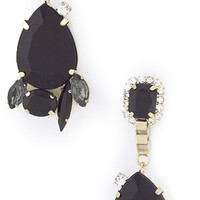 Midnight Teardrop Jewel & Crystal Cluster Earrings