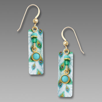 Adajio Earrings - Peacock Pattern with Bead Drop and Aqua Cabochon