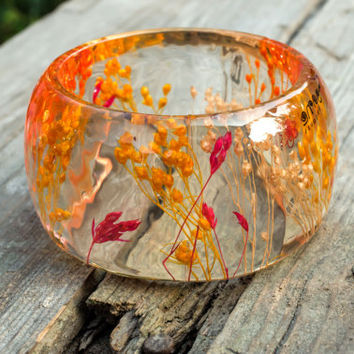 Dried colorful flowers Huge resin bracelet flower bangle Natural jewelry original idea botanical bracelet Modern resin bangle gift for her