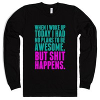 No Plans to Be Awesome-Unisex Black T-Shirt
