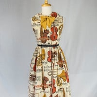 Vintage 1950s Little Girls Jrs Dress Novelty Musical Instruments Print Too Cute!