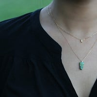 Triangle turquoise trapezoid pendant necklace, gold filled, sterling silver, simple, layering necklace