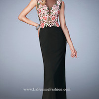 Black Jersey Long Prom Dress with Floral Accents by La Femme