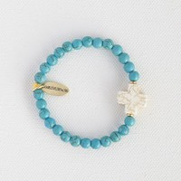 Liv•N•Grace  Turquoise  Beads  with  White  Cross  Bracelet  From  Natural  Life