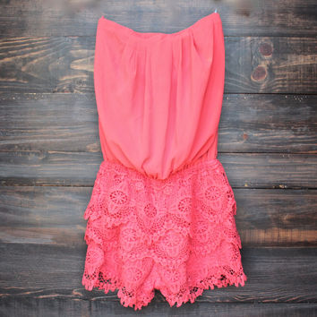 strapless sweetheart bust chiffon romper | coral
