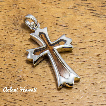Koa Wood Cross Pendant Handmade with 925 Sterling Silver (23mm x 38mm FREE Stainless Chain Included)