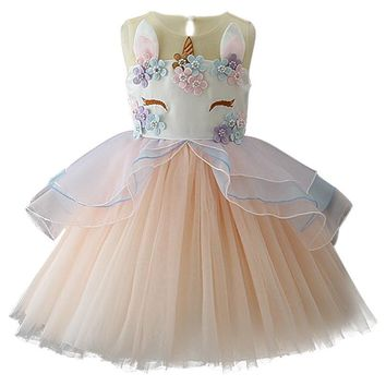 Unicorn Girls Princess Dress