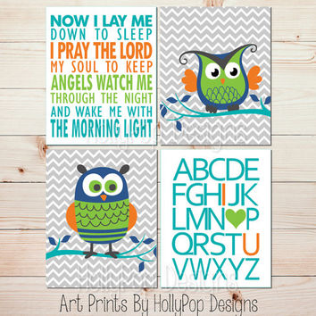 Boy nursery wall decor Owl nursery art Children's Bedtime prayer Now I lay me down ABC I love you print Turquoise Lime Baby boy art #1431