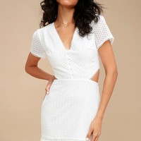 Brigitte White Lace Cutout Dress