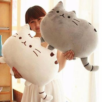 40*30cm Kawaii Cat Pillow With Zipper Only Skin Without PP Cotton Biscuits Kids Toys Doll Big Cushion Cover Peluche Gift